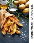 baked potato fries with... | Shutterstock . vector #644040136