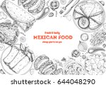 mexican cuisine top view frame. ... | Shutterstock .eps vector #644048290