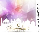 ramadan poster with low poly...   Shutterstock .eps vector #644053210