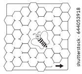 cartoon bee maze game  ... | Shutterstock .eps vector #644053918