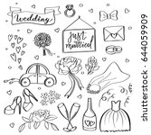 wedding icons. hand sketched... | Shutterstock .eps vector #644059909
