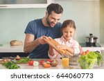 young father and daughter... | Shutterstock . vector #644060773