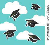graduation cap up in air  | Shutterstock .eps vector #644062303