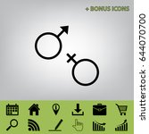 sex symbol sign. vector. black... | Shutterstock .eps vector #644070700