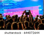 man takes a picture of the... | Shutterstock . vector #644072644