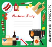 summer picnic and barbecue food ... | Shutterstock .eps vector #644072770
