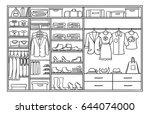 hand drawn monochrome family... | Shutterstock .eps vector #644074000