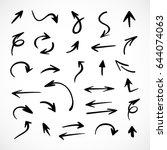 hand drawn arrows  vector set | Shutterstock .eps vector #644074063