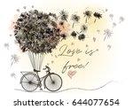 cute romantic vector... | Shutterstock .eps vector #644077654