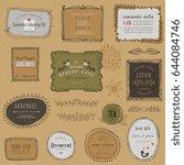 vintage hand drawn labels ... | Shutterstock .eps vector #644084746