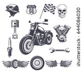 vintage motorcycle elements... | Shutterstock .eps vector #644086030