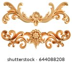 gold ornament on a white... | Shutterstock . vector #644088208