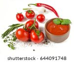 tomato sauce with greens and... | Shutterstock . vector #644091748