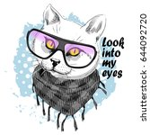 vector white cat with glasses.... | Shutterstock .eps vector #644092720