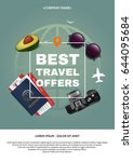 best travel offer a4 concept.... | Shutterstock .eps vector #644095684