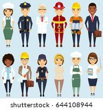 set of different professions.... | Shutterstock .eps vector #644108944