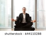 young businessman sitting in... | Shutterstock . vector #644110288