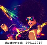 sexy woman with afro hair style ... | Shutterstock . vector #644113714