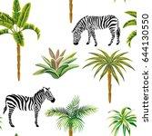 beautiful tropic animals zebra... | Shutterstock .eps vector #644130550