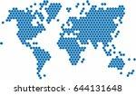 hexagon shape world map on... | Shutterstock .eps vector #644131648