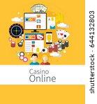 set of casino flat design icons.... | Shutterstock .eps vector #644132803