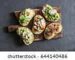 breakfast avocado sandwich  ... | Shutterstock . vector #644140486