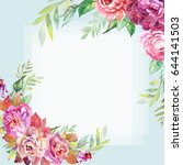 romantic card with peonies and... | Shutterstock . vector #644141503
