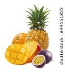 tropical mango  orange ... | Shutterstock . vector #644151823
