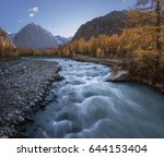 swift mountain river on the... | Shutterstock . vector #644153404