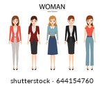 collection of women in... | Shutterstock .eps vector #644154760