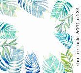 watercolor frame of palm leaves | Shutterstock . vector #644155534