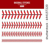 baseball stitches vector set.... | Shutterstock .eps vector #644157220