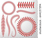 baseball stitches vector. lace... | Shutterstock .eps vector #644157394