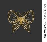 decorative gold butterfly. an...   Shutterstock .eps vector #644166094