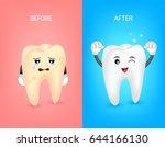 cartoon tooth character before...   Shutterstock .eps vector #644166130