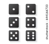 black dice with shadow. view... | Shutterstock .eps vector #644166733