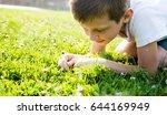 boy looking in the grass | Shutterstock . vector #644169949
