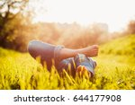 young hipster girl lying on the ... | Shutterstock . vector #644177908