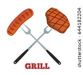 grill label. pork  ham and...   Shutterstock .eps vector #644182204