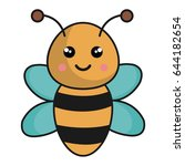 cute and tender bee kawaii style | Shutterstock .eps vector #644182654