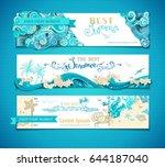 vector set of summer marine... | Shutterstock .eps vector #644187040