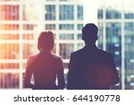 back view silhouettes of two... | Shutterstock . vector #644190778