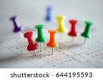 thumbtack in calendar concept... | Shutterstock . vector #644195593