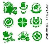 leaf clover labels and elements ... | Shutterstock .eps vector #644195650