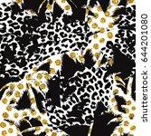 trendy seamless exotic pattern... | Shutterstock .eps vector #644201080