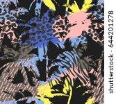 trendy seamless exotic pattern... | Shutterstock .eps vector #644201278