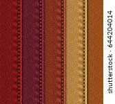 set of realistic leather... | Shutterstock .eps vector #644204014