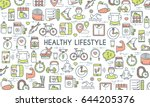 healthy lifestyle banner.... | Shutterstock .eps vector #644205376