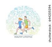healthy lifestyle banner.... | Shutterstock .eps vector #644205394