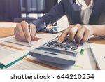 close up business man using... | Shutterstock . vector #644210254